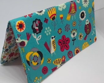 Teal Folk Butterfly Bird Floral Fabric Print Checkbook Cover Coupon Holder Clutch Purse Billfold Ready Made