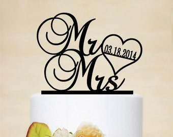 Mr & Mrs Cake Topper with Date,Wedding Cake Topper With Heart,Acrylic Cake topper-038