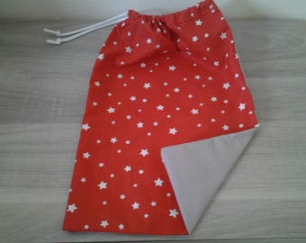 Toy bag, snack bag, pouch red stars