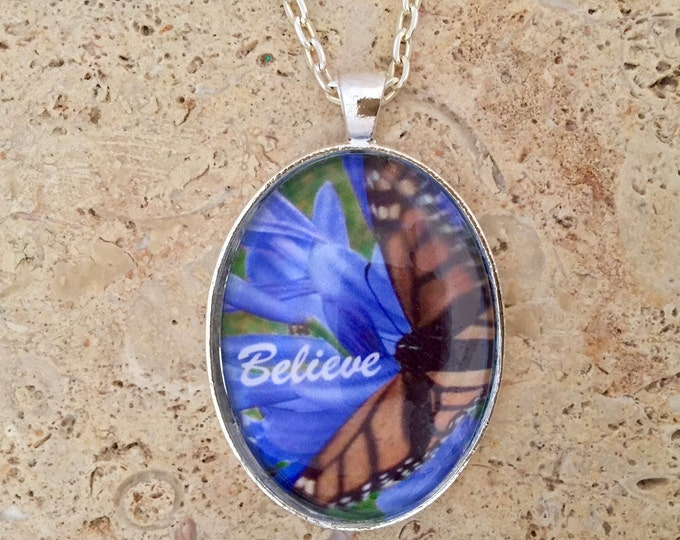 Butterfly pendant with blue flowers in silver link chain necklace,  Hawaiian Glass photo pendant, real Hawaiian butterfly photo under glass