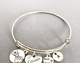 Cousin Bangle Bracelet, Cousin Charm Jewelry, Gift for Cousin, Cousin Friends, Bracelet set of 2, Personalized, Custom, Cousin BFF, Friends