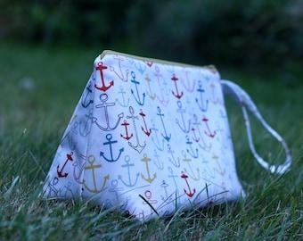 Nautical Knitting Project Bag - Anchors Sock Project Bag - Summer Zippered Project Bag - Crochet Project Bag