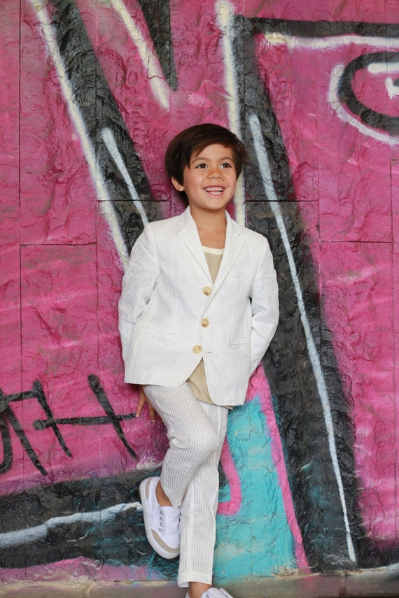 Boys wedding outfit kids seersucker suit/Toddler boy linen