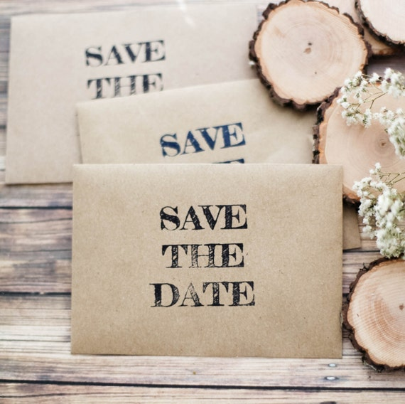 Save The Date Wedding Invitation Envelope Rubber Stamp