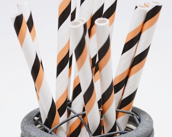 50 Charcoal Black Stripe Paper Straws - Perfect for Parties - Favors--Free Editable DIY Tags PDF