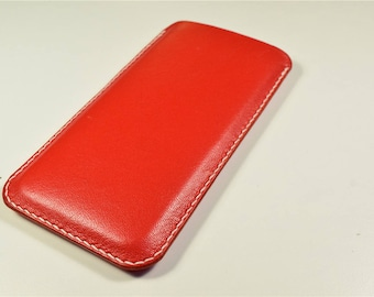 Personalized iPhone Kangaroo Leather Cover - Red