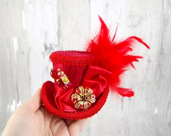 Red on Red Small Mini Top Hat Fascinator, Alice in Wonderland, Mad Hatter Tea Party, Derby Hat