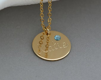 Birthstone Disc Necklace, Personalized Birthstone Necklace, Custom Gold Disc Necklace Personalized, Mother's Gift, Mother Gift, Gift For Mom