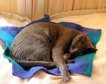 Cat Mat, Felted Cat Mat, George Design, Sleeping cat