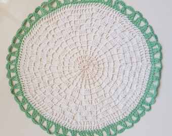 Vintage Crocheted Doily Round White with Green Trim