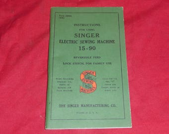 Singer Model 15 Sewing Machine Manual, 15-90, 1948