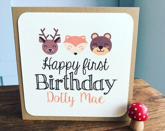 Handmade Personalised Birthday Card, Woodland Animals, Baby Boy, Baby Girl, Recycled Kraft or Grey Card