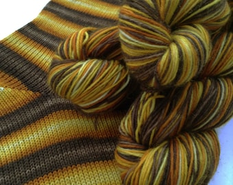 Hand dyed self striping sock yarn - Lussekatt
