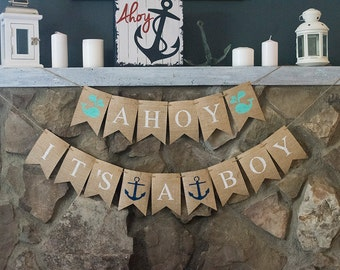 Nautical Baby Shower Banners, Ahoy It's A Boy Banner, Nautical Banner, Baby Shower Banner, Boy Baby Shower Banner, Nautical Boy Banner, B457