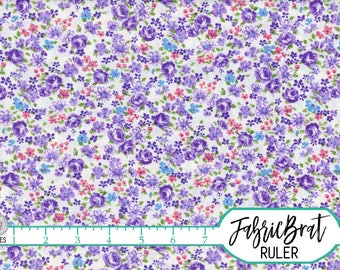PURPLE ROSE Fabric by the Yard, Fat Quarter Vintage Style Floral Fabric Small Floral Fabric 100% Cotton Fabric Quilting Fabric Yardage w2-23