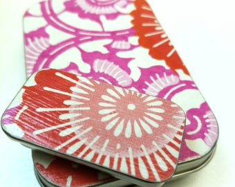 Large hinge tin and Small slide tin Duo. . . Pink and red flowers and swirls.