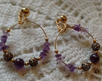 Pretty Amethyst Earrings:  Clip on.