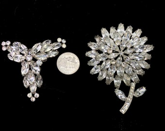 Two Huge Vintage Brilliant White Rhinestone Brooches of Amazing Quality - Pristine Condition