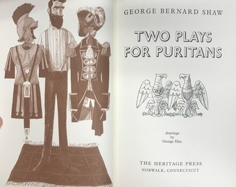 Two Plays for Puritans, The Devil's Disciple and Ceasar and Cleopatra by George Bernard Shaw, Ill. by George Him, The Heritage Press, 1979