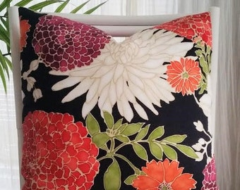 """Richloom Large Floral Red Purple Black Asian Chinoiserie Oriental Pillow Cover- Only three 18""""x18"""" left!"""