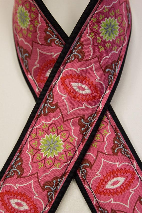 Camera Strap 2 in Wide Custom Padded Brocade Pink DSLR SLR