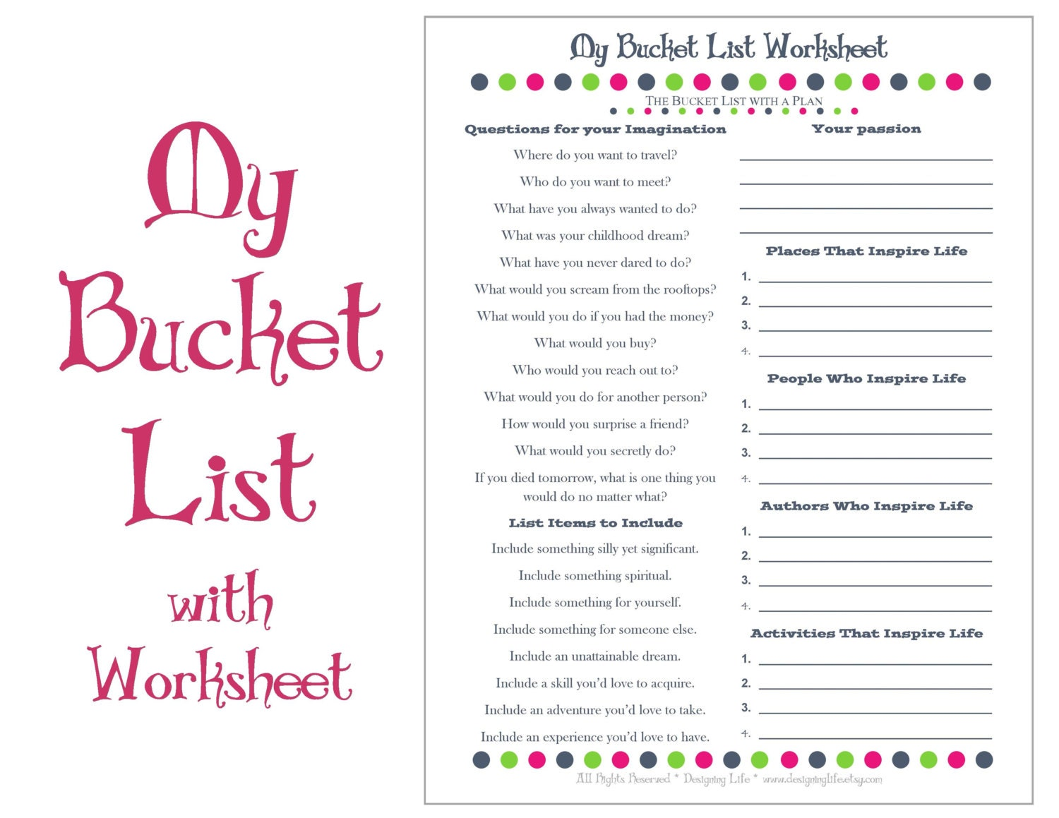 Worksheets Life Plan Worksheet bucket list printable with worksheet make a plan to live