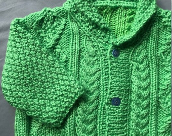 Toddler-Green cabled shawl sweater