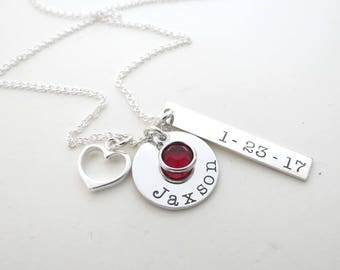 Personalized Birthstone Necklace with Heart - Mothers Necklace - Personalized Jewelry - Childs Name - Son - Daughter - Family - Grandma