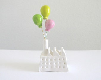 Celebration Factory - Ceramic Miniature Sculpture - Balloon factory -  (pink green yellow)