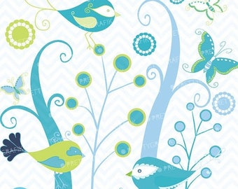 80% OFF SALE birds and trees clipart commercial use, vector graphics, digital clip art, digital images - CL433