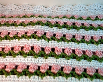 Flowers In The Garden Afghan/Blanket Pink, Green with White Scalloped Edge