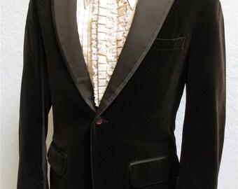 Vintage 1970's Men's Black Velvet Large Lapel Tux / Blazer / Sport coat / Jacket made in Hong Kong BDFKgTxa79