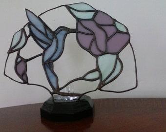 Stained Glass Hummingbird Panel/ Night Light