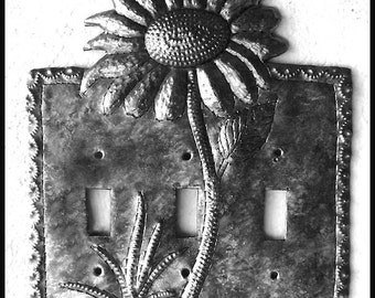 Switch Plate Covers, Sunflower Design, Metal Switch Plate - Switchplates, 3 hole Switch Plate Cover, Light Switch,  Haitian Metal - SP-120-3
