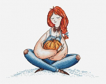 Girl with Pumpkin Cross Stitch Pattern Ginger hair girl pattern Farmer girl with pumpkin instant download pattern cross stitch for girl