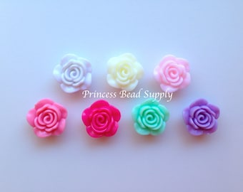 Mix & Match Resin Rose Flower Beads, NEW Style! 20mm Rose Beads, 20mm Flower Beads, Mini Flower Beads, Chunky Beads, Acrylic Beads