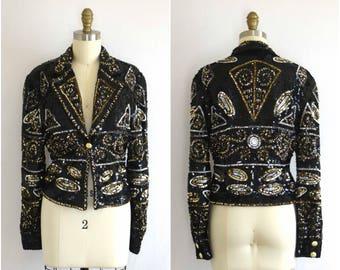 Sequined Evening Jacket/ Modi Beaded Jacket/ 80s Trophy Jacket/ Womens Size Small