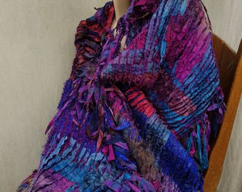 PURPLE COLLAGE SHAWL.silk. Shawl  wrap.  Unique  ready  to  ship