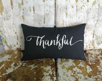 THANKFUL Cotton Dark Gray Lumbar Throw Pillow /  Throw Pillow Accent Pillow / Modern Farmhouse Cottage Gift Home Decor