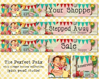 Mother Daughter Perfect Pair Vintage Etsy Shop Set, Includes Banner, Avatar, Reserved Listing, Away and Sale