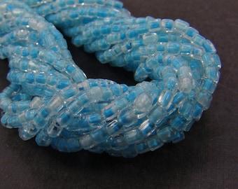 Vintage blue glass seed beads, Italian hank, size 11, 2-cut 11/0