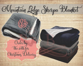 FAST SHIPPING Large Monogram 50x60 Sherpa Blanket Mountain Lodge Throw Embroidered Personalized Blanket Great Grad Gift Super Soft