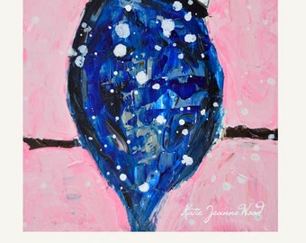 Pink Cottage Chic Blue Jay Painting Print. Bird Art Painting. Dining Room Art Decor. Romantic Gift for Her. Katie Wood Art. 94