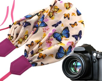 Butterflies camera strap. Camera scarf strap. Butterflies scarf for DSLR and SLR cameras. Bright and colorful gift for her. Camera accessory
