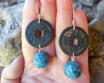 Old coin with agate lotus with sterling silver earwires