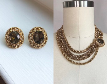 Vintage 1950's Brown Topaz Rhinestone Multi Strand Choker Necklace and Clip On Earrings