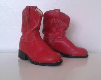 Vintage Toddlers' Kids' Old West Red Leather Roper Cowboy Boots Sz  10 10 1/2 Western Rustic