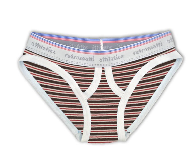 Retro ultra low rise briefs in red & brown stripes