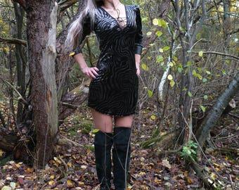 Velvet dress 90s, 80s dress, tiger print dress, animal print, grey and black, metal dress, goth clothing, velvet tunic, DarkMotherClothing
