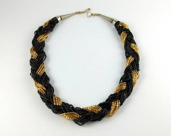 Black and Gold  Statement Necklace - Plastic Beads - Multistrain jewelry  - Wave - Vintage Jewelry